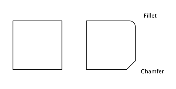 how to show chamfer in drawing
